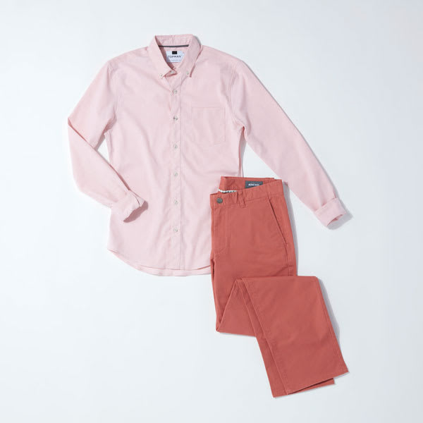 Pink tonal outfit for men