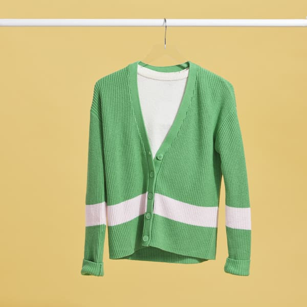 Women's green cardigan with white stripe
