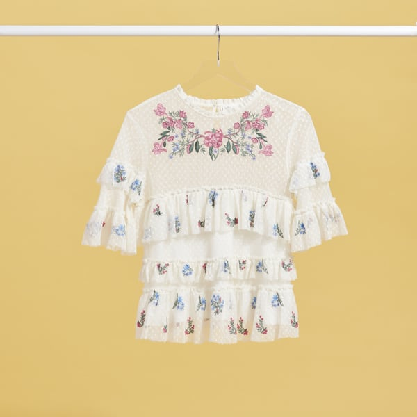 Women's floral ruffle sleeve blouse
