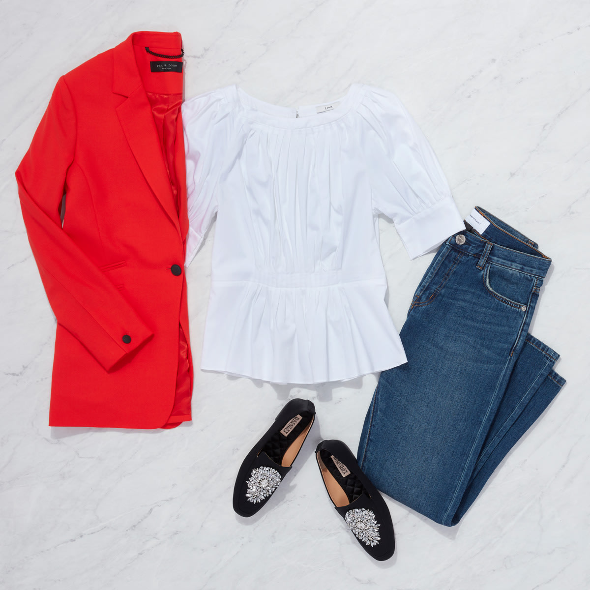 Red Blazer and Loafers Outfit for women