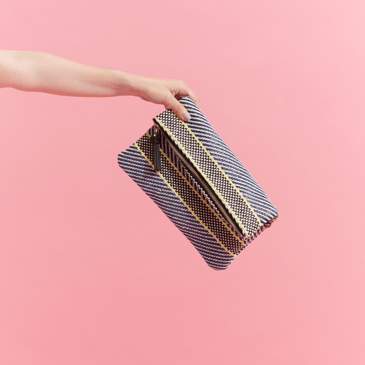 Women's crochet fold-over clutch