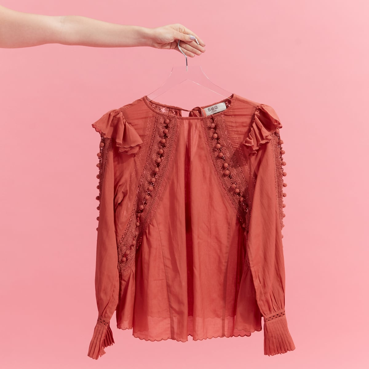 Women's long sleeve crochet blouse