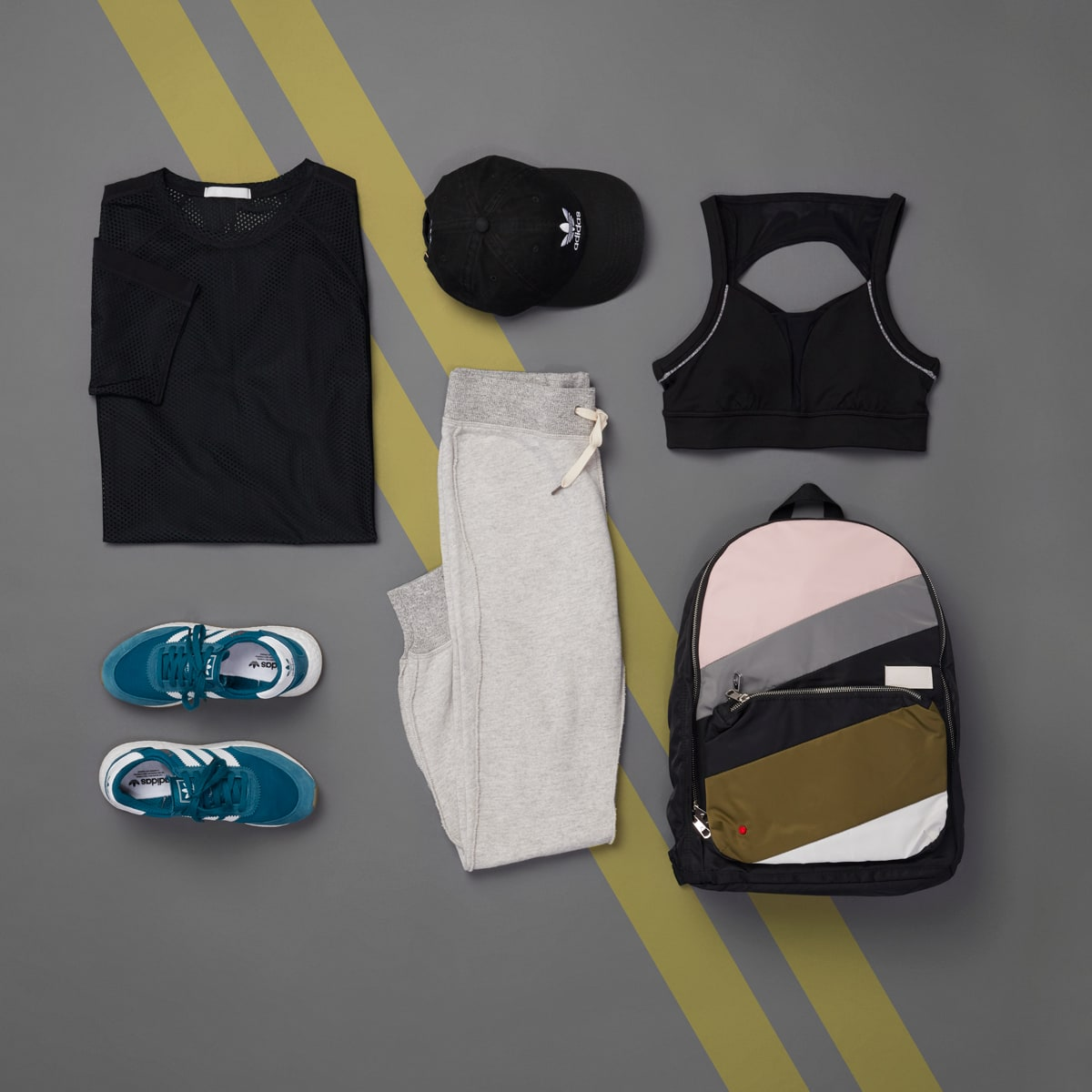 Black tunic and joggers athleisure outfit