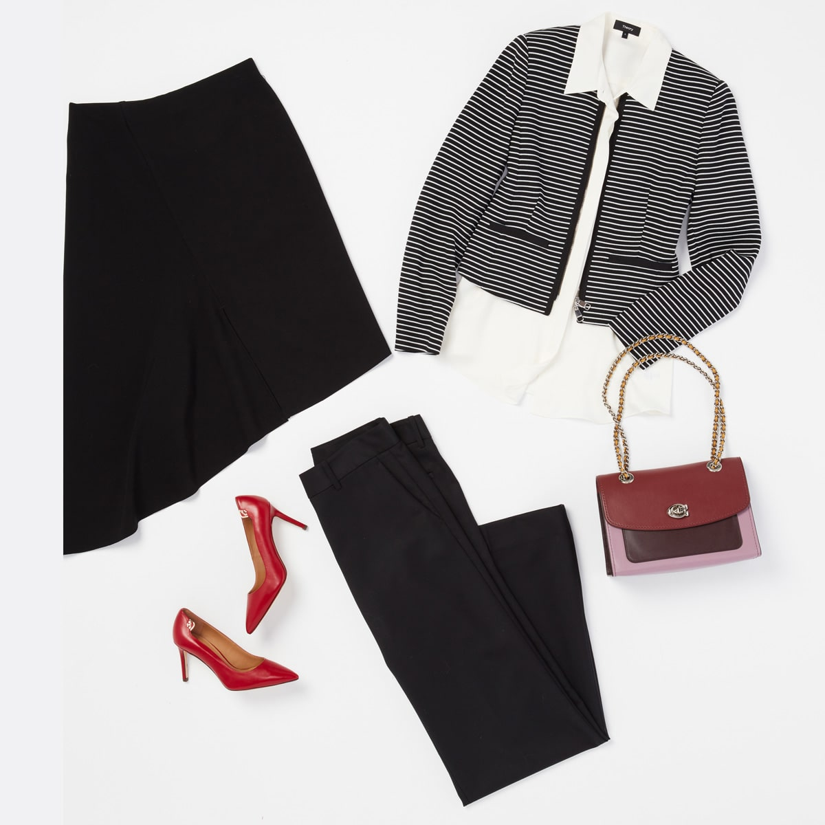 Add colorful accessories to a black blazer and slacks
