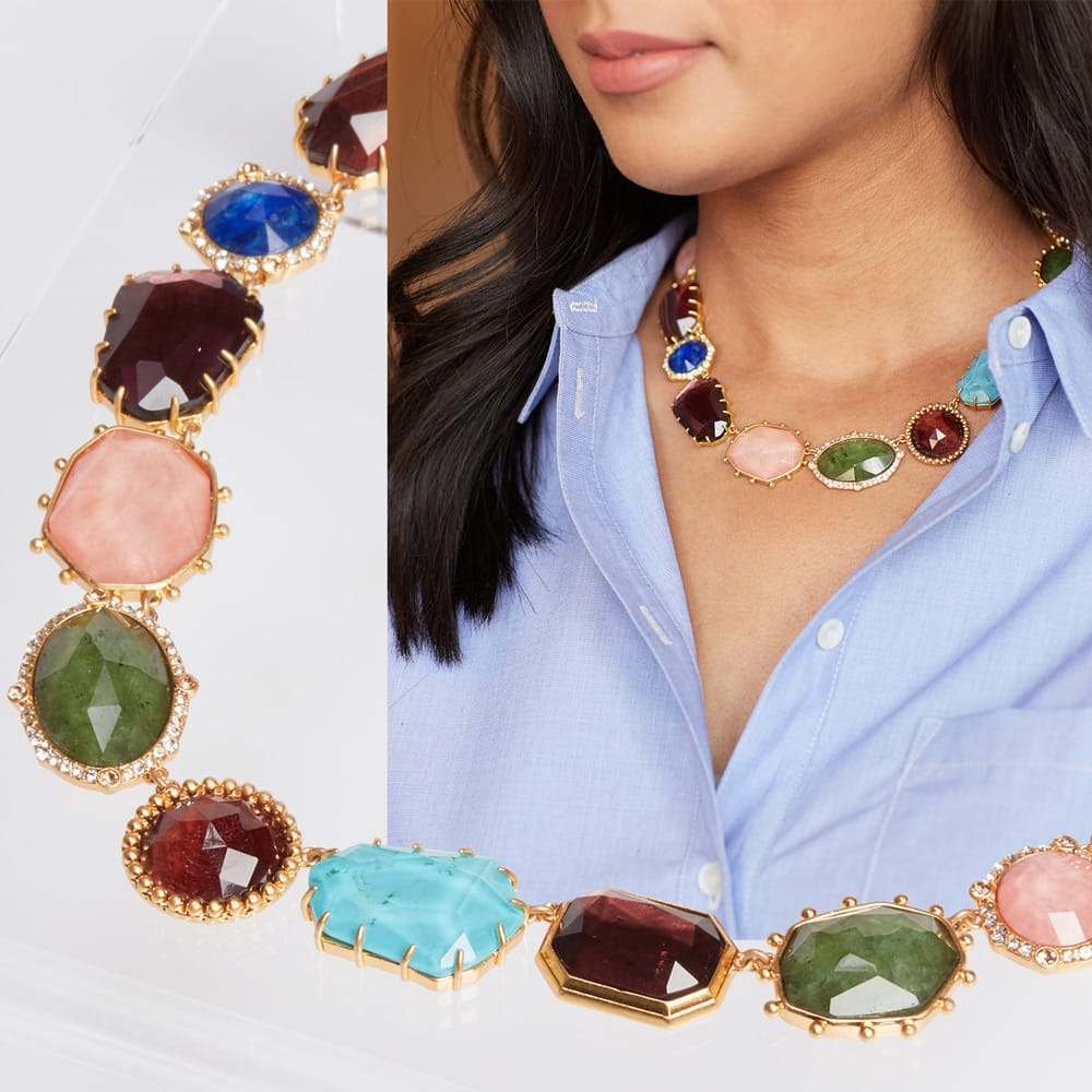 Jewel toned collar necklace with a button-down shirt