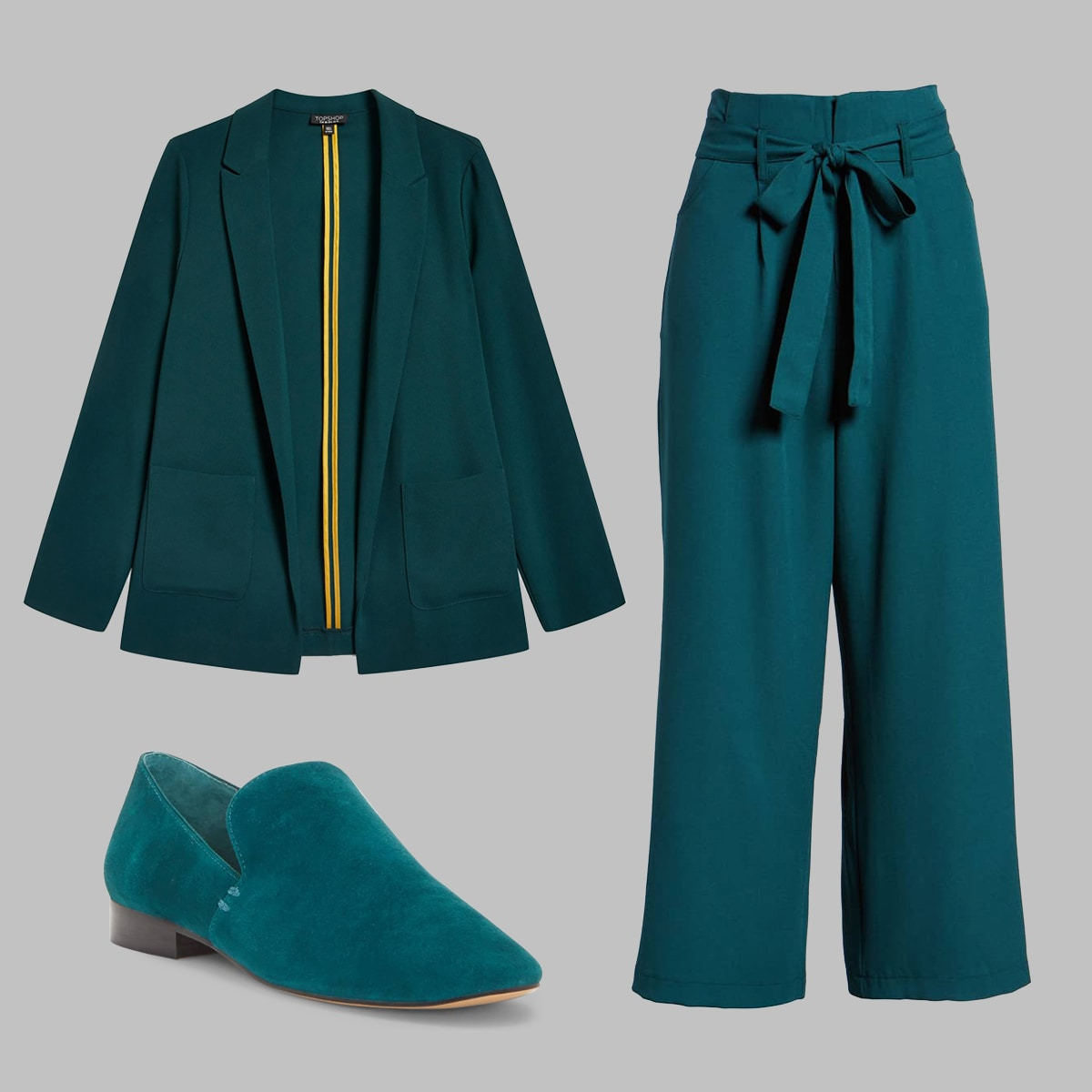 Teal blazer, woven pants, and loafer