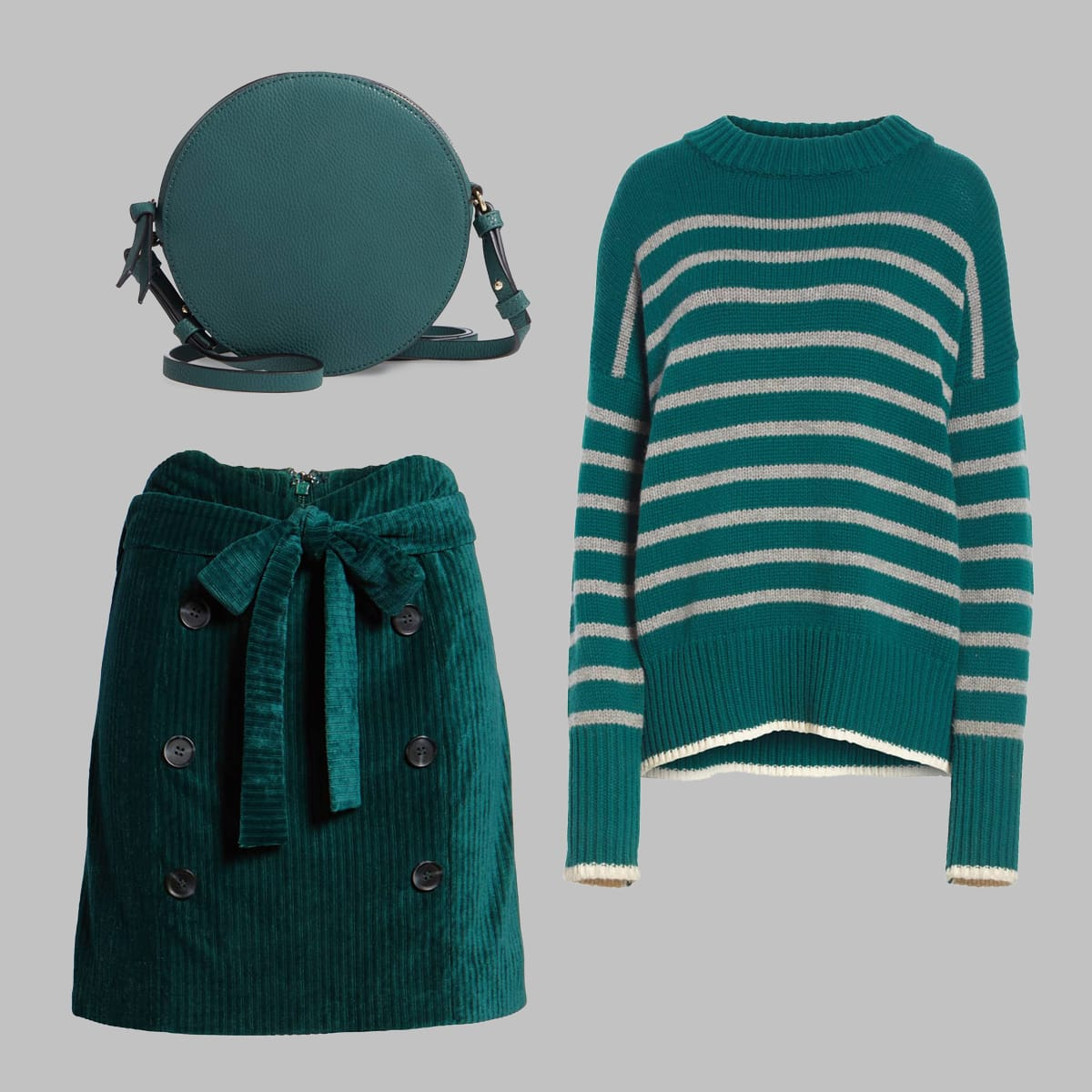 Teal sweater, velour skirt, mini bag