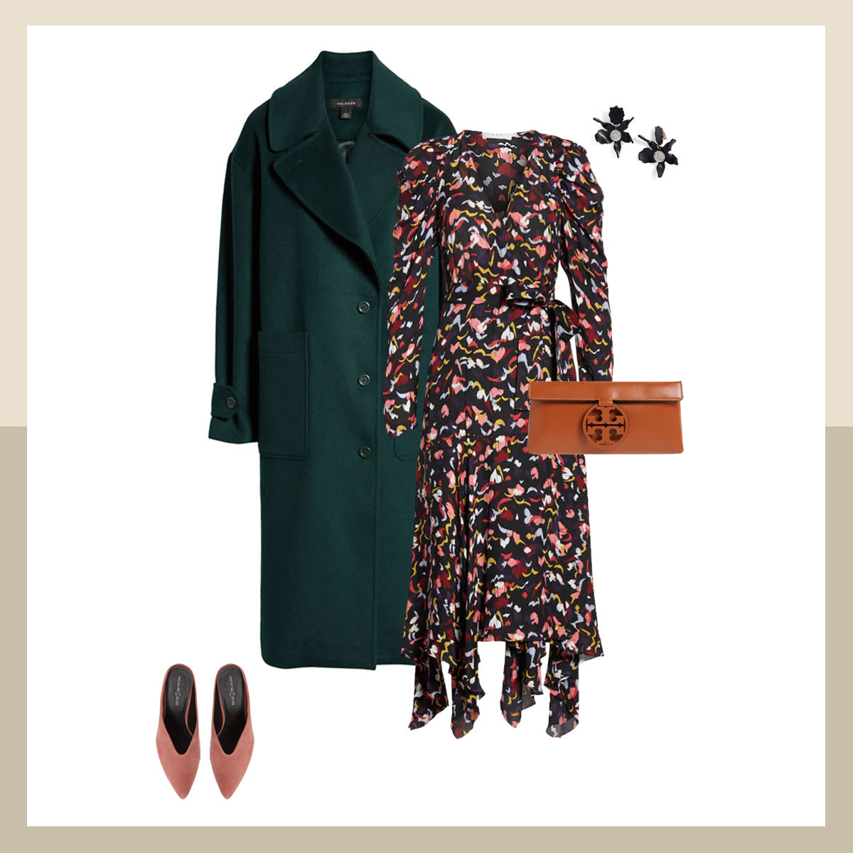 Green jacket with ALC floral dress
