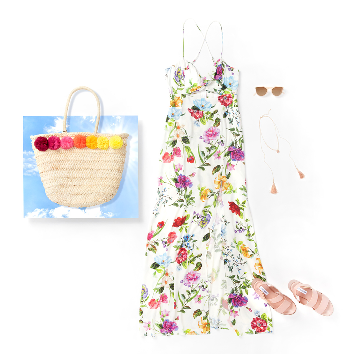 Floral maxi dress, nude sandals tassel necklace, sunglasses and a festive straw bag laid flat on a white background.