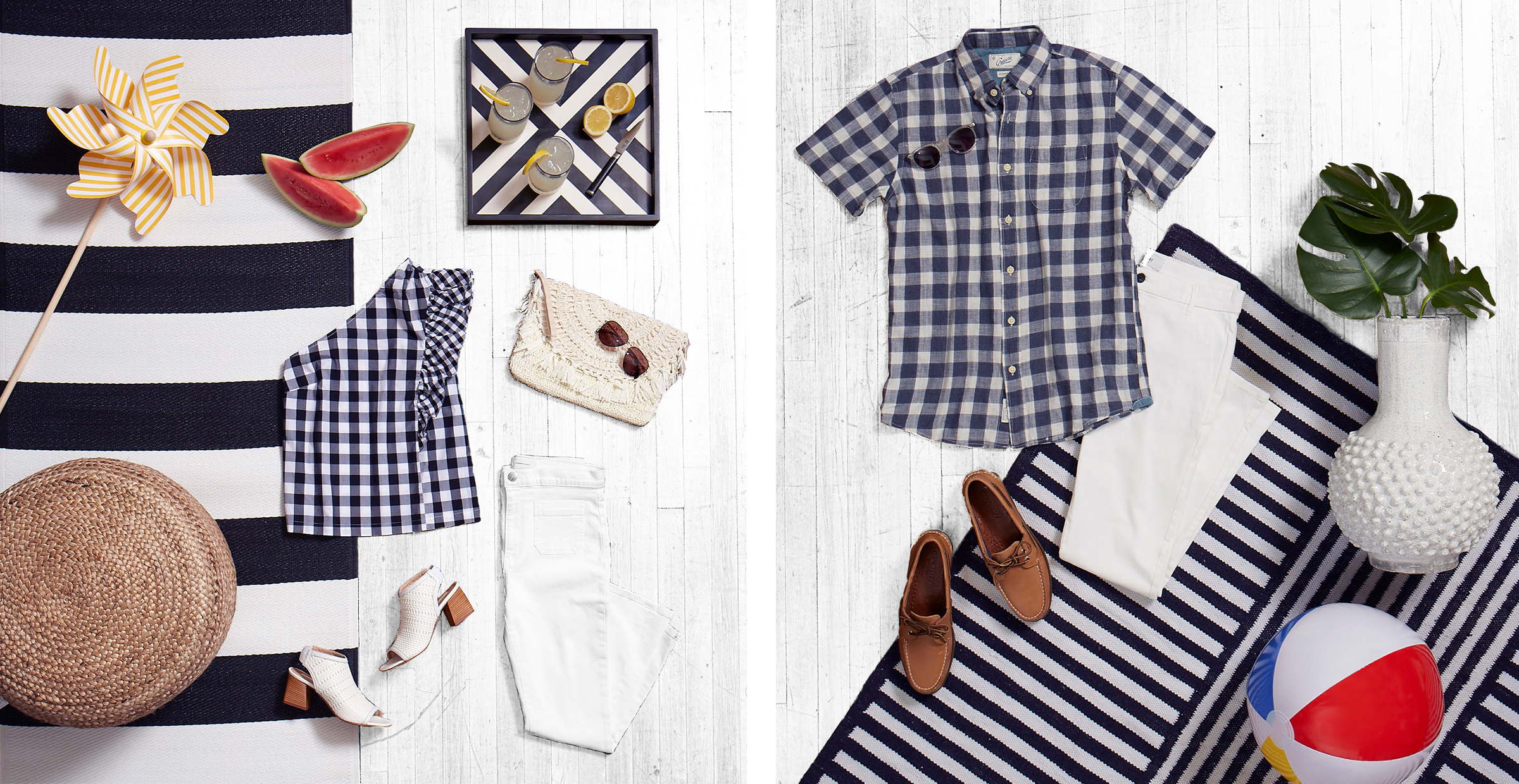 Gingham shirt with white jeans.