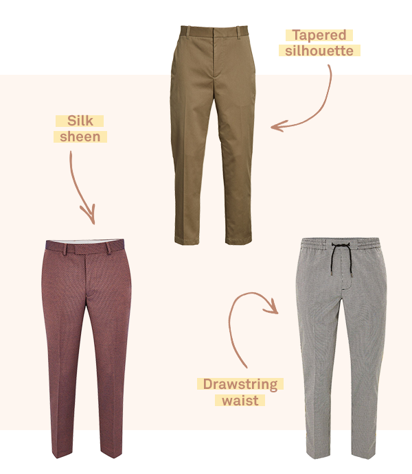 Three pairs of cropped trousers in a variety of patterns and colors on a light pink background.