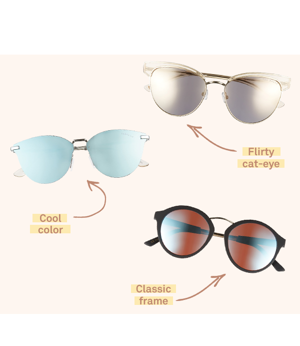 Three pairs of women's mirrored sunglasses laid flat on a light pink background.