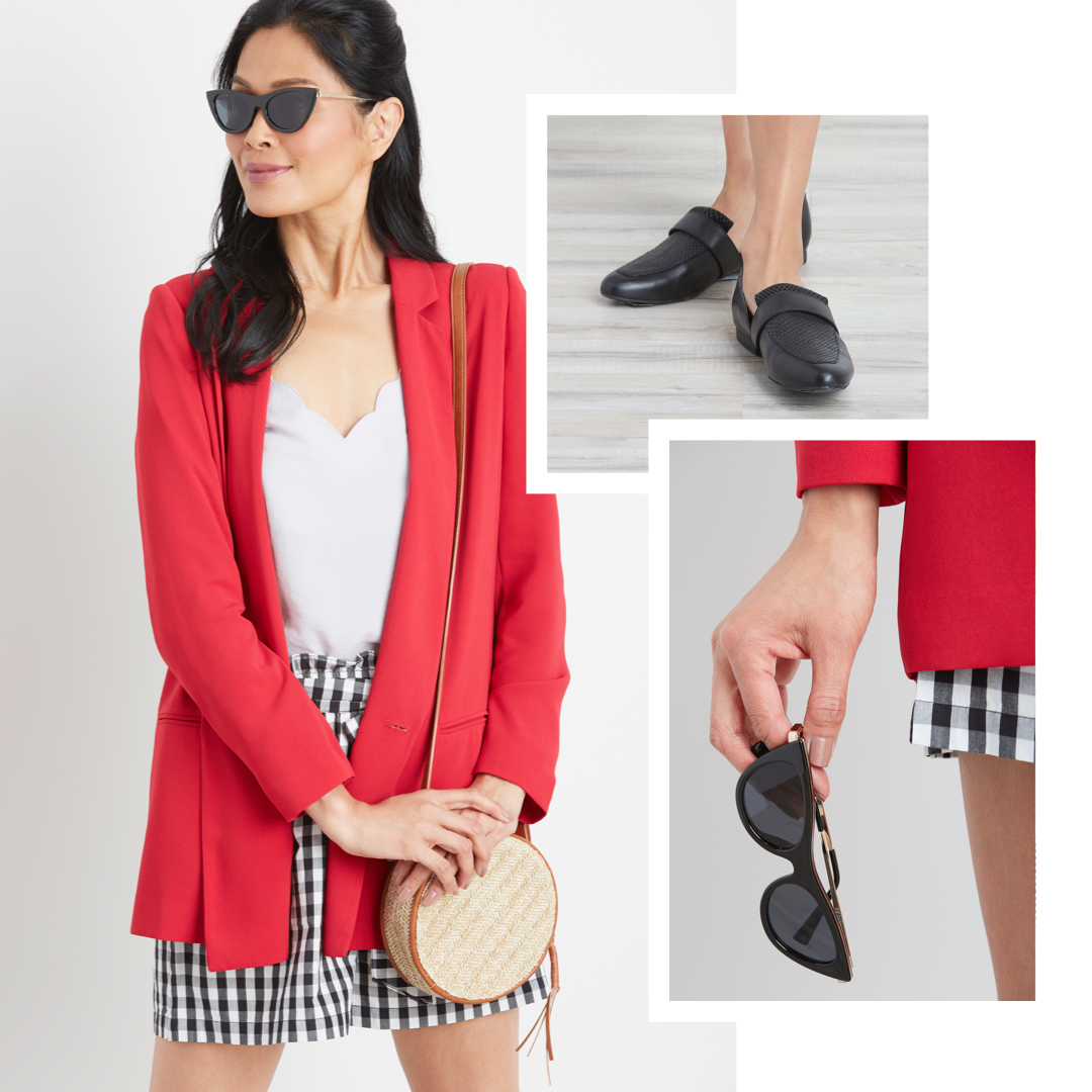 A red blazer with gingham shorts.