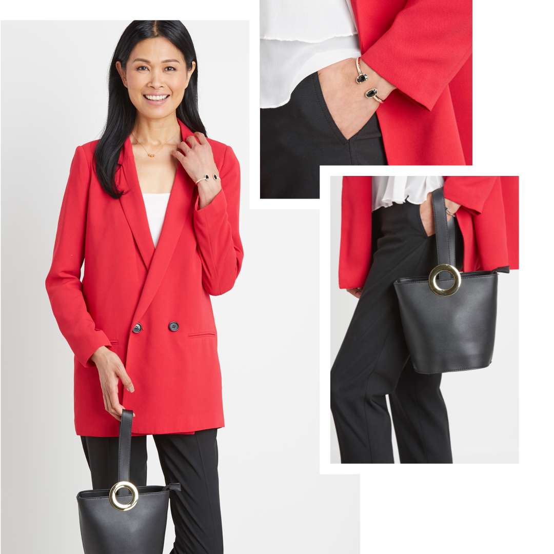 A red blazer with black trousers.