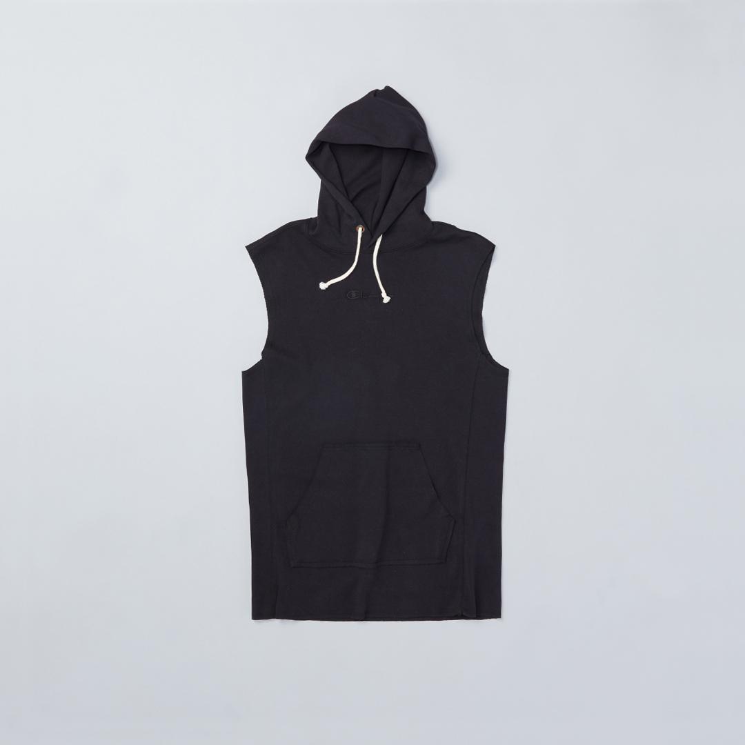Black, sleeveless hoodie.