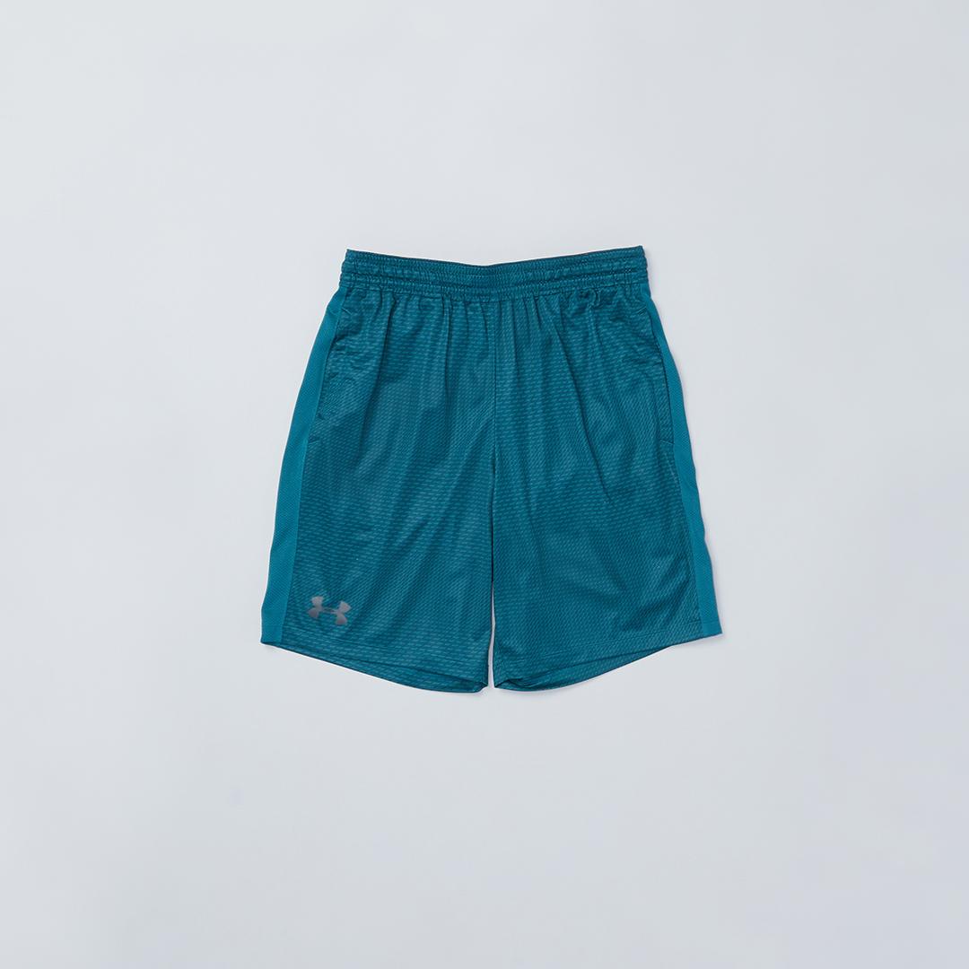 Teal shorts.