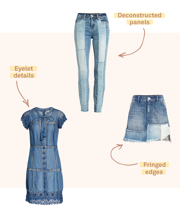 Three items of women's clothing - a jean skirt, blue denim dress, and patched jeans - displayed on a light tan background.
