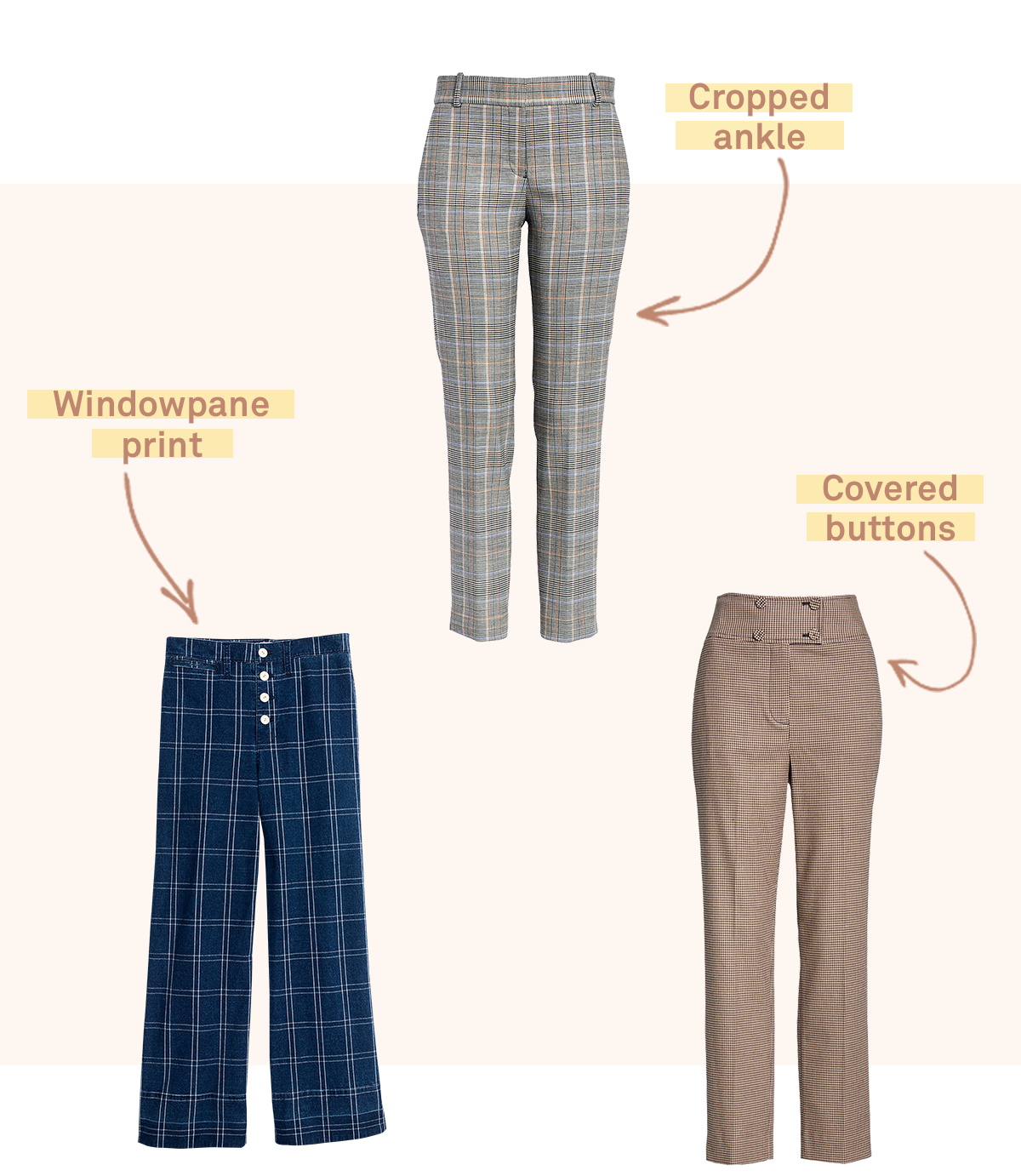 Three pairs of women's checked trousers in varying prints on a light pink background.