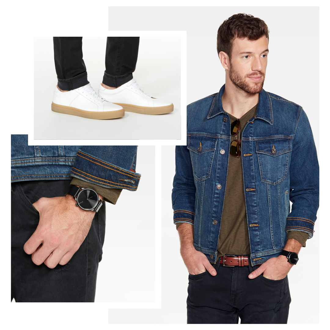 Denim jacket with a tshirt and dark jeans.