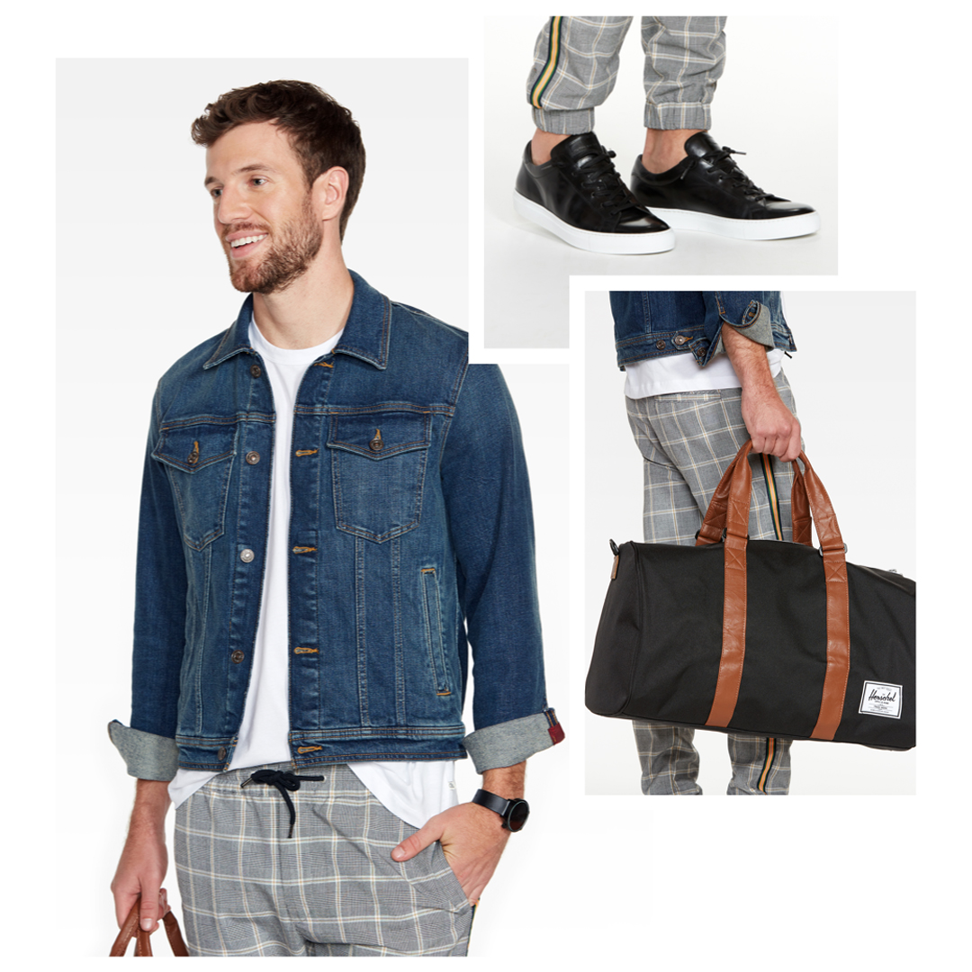 Denim jacket with grey, plaid joggers.