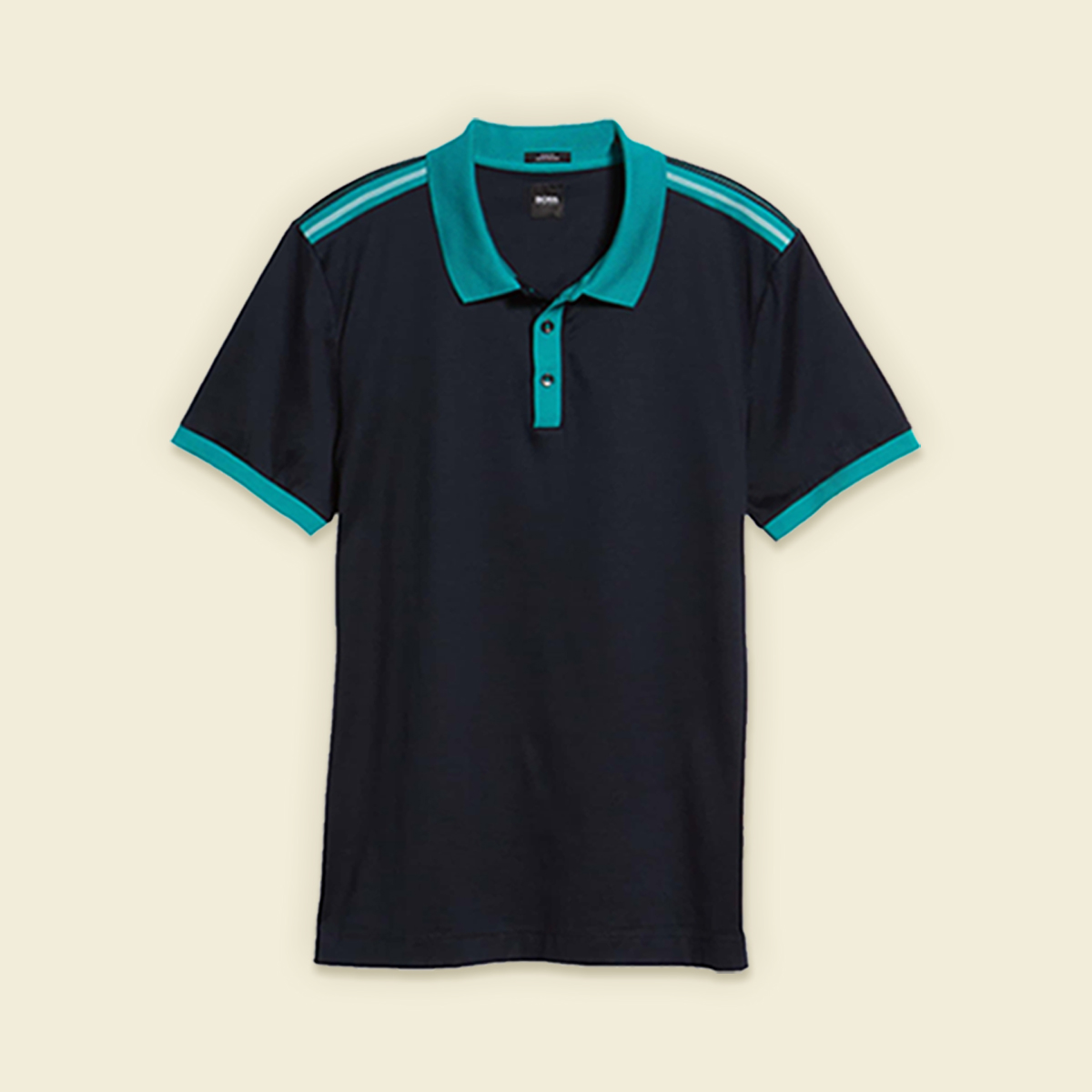 Black polo shirt with teal collar.