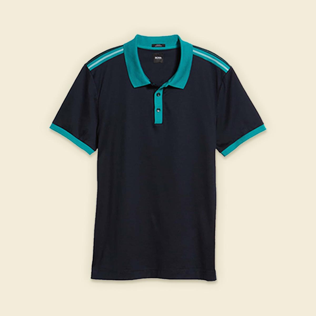 Black polo shirt with teal collar.