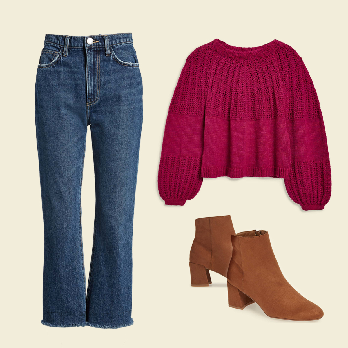Kick-flare jeans, sweater, and tan boots.