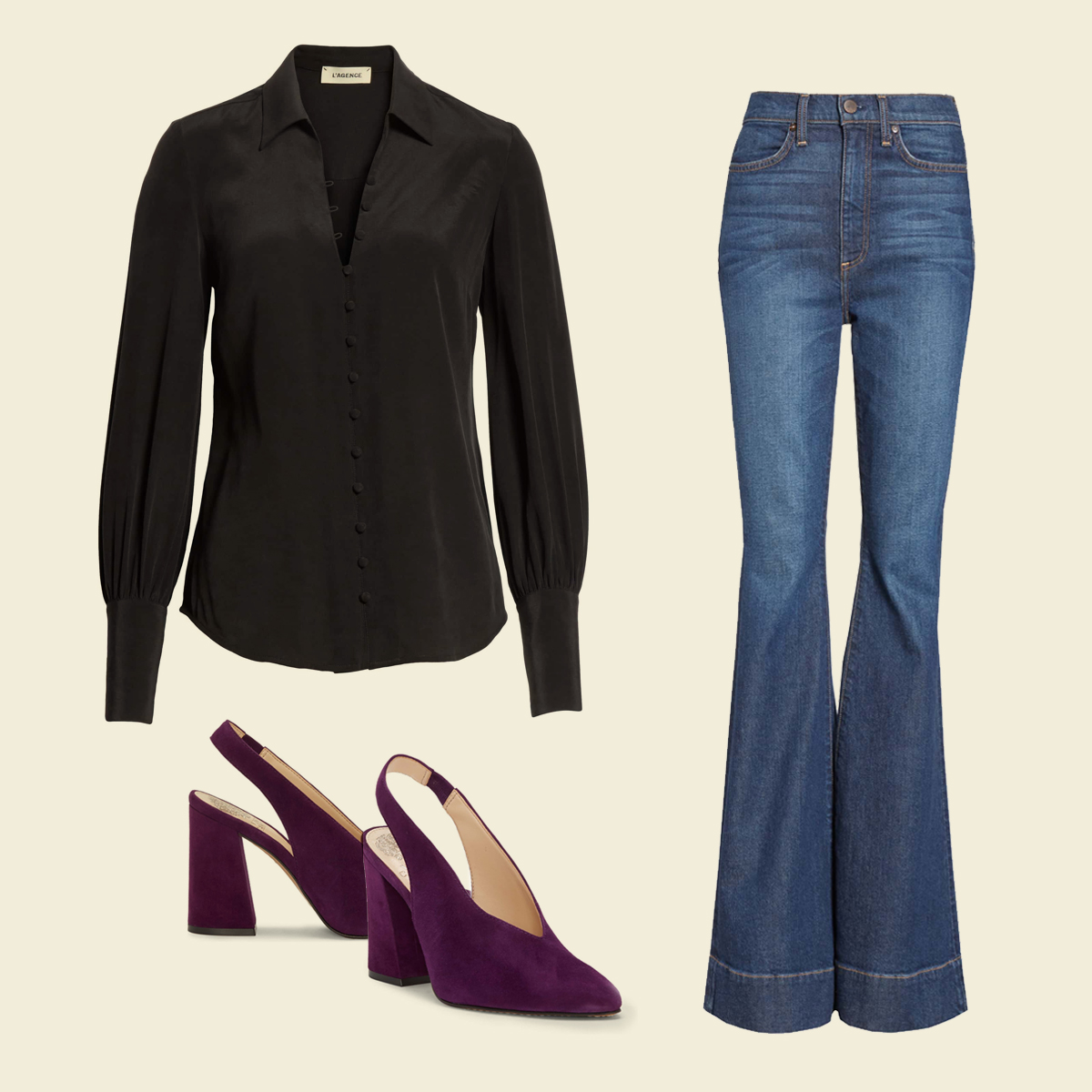 Bell-bottom jeans, black blouse, and statement boots.