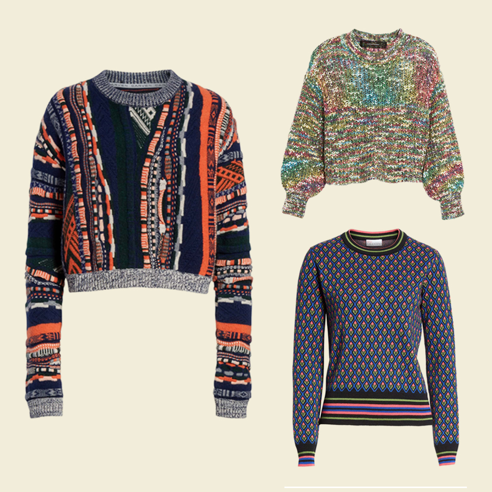 Multi-colored cable sweater. Multi-colored pattern sweater.