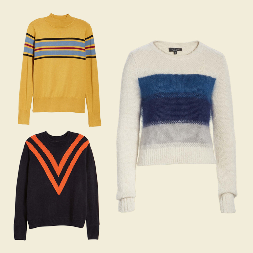 Black sweater with orange chevron pattern. Mustard sweater with teal stripes. White sweater with blue stripes.