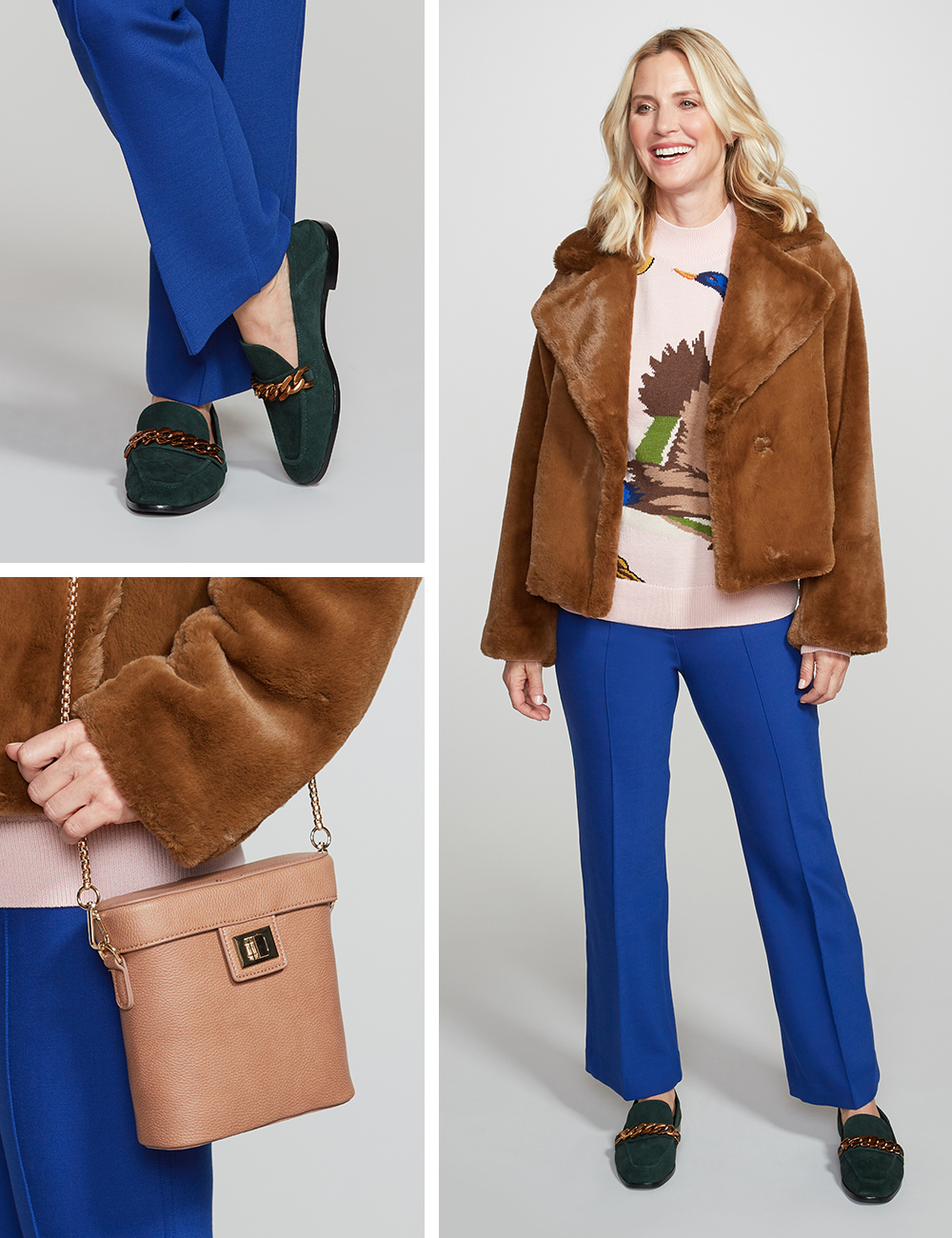 8ab358822865 In any case, always ground the look with a few neutral pieces, like this  brown plush coat, subdued green loafer, and oatmeal bag.