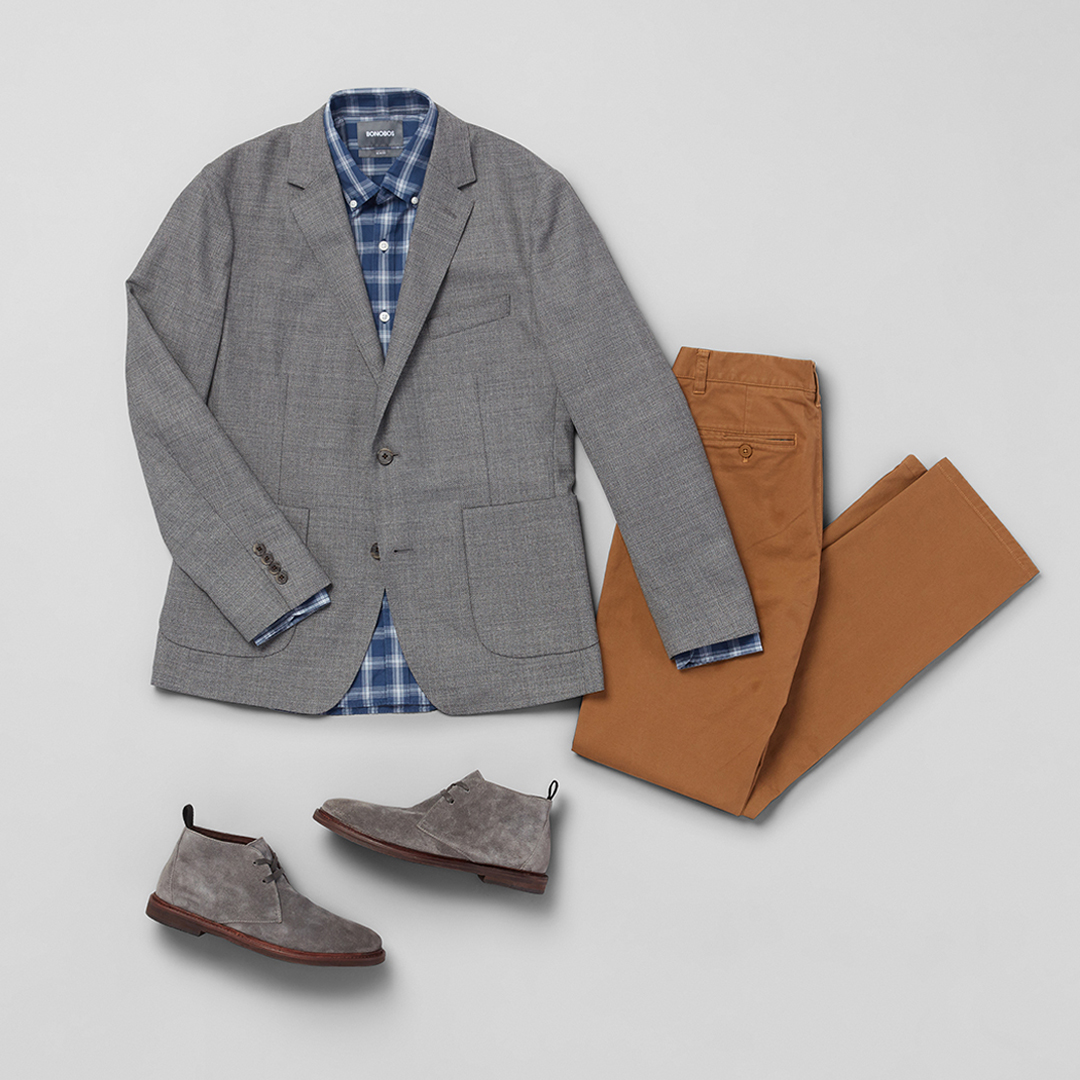 Bonobos blazers and chinos.