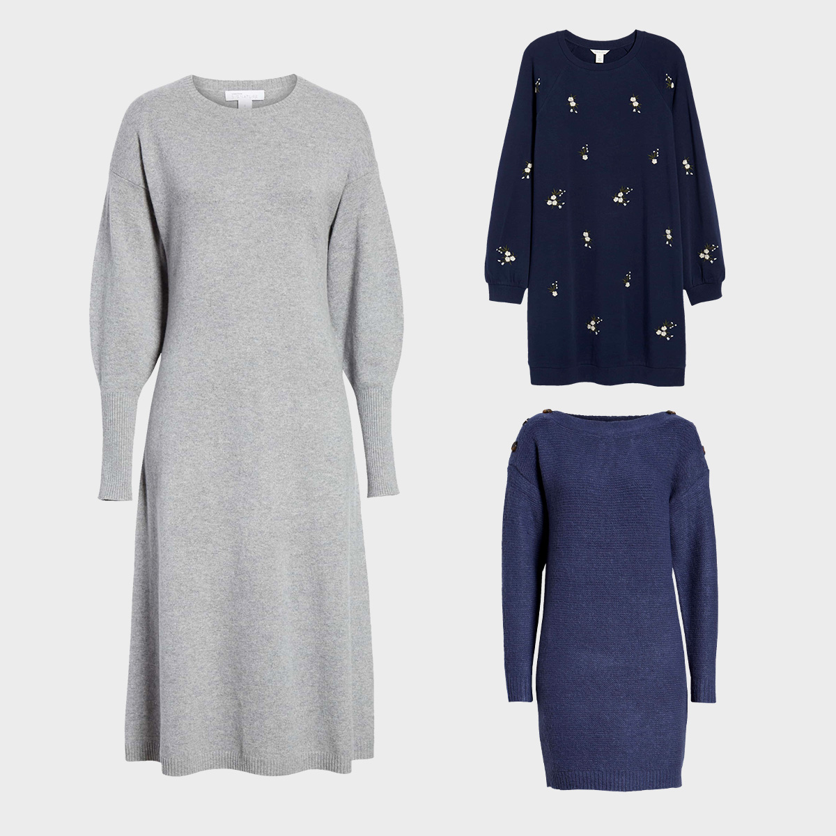 Three dresses perfect for wearing during the day in the fall.