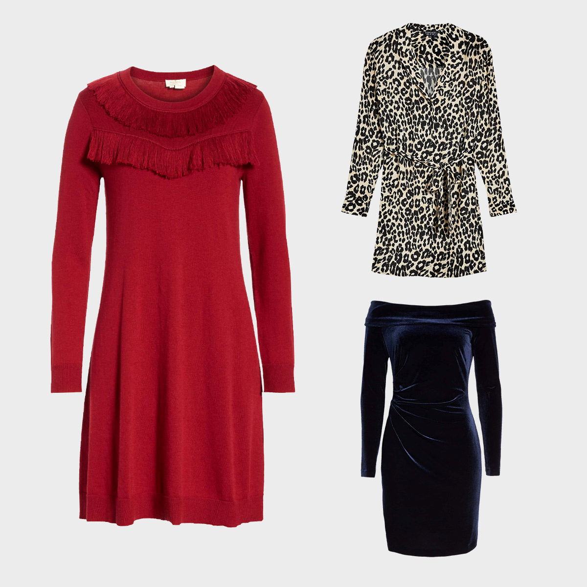 Three dresses perfect for wearing at night during the fall.