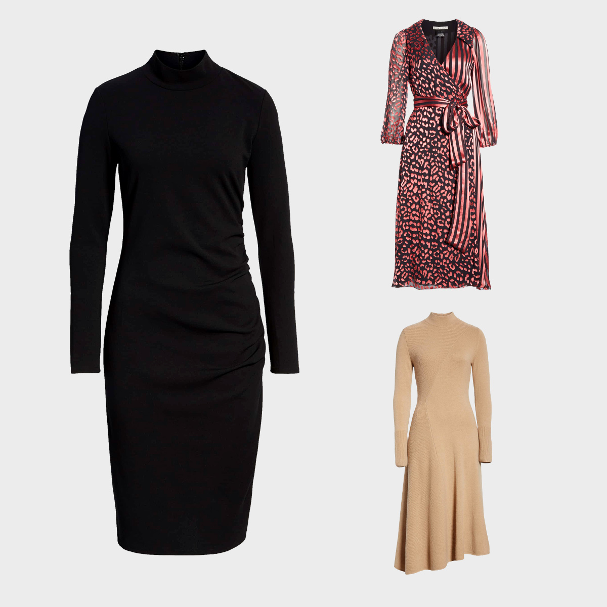 Three dresses perfect for wearing either at night or during the day in the fall.
