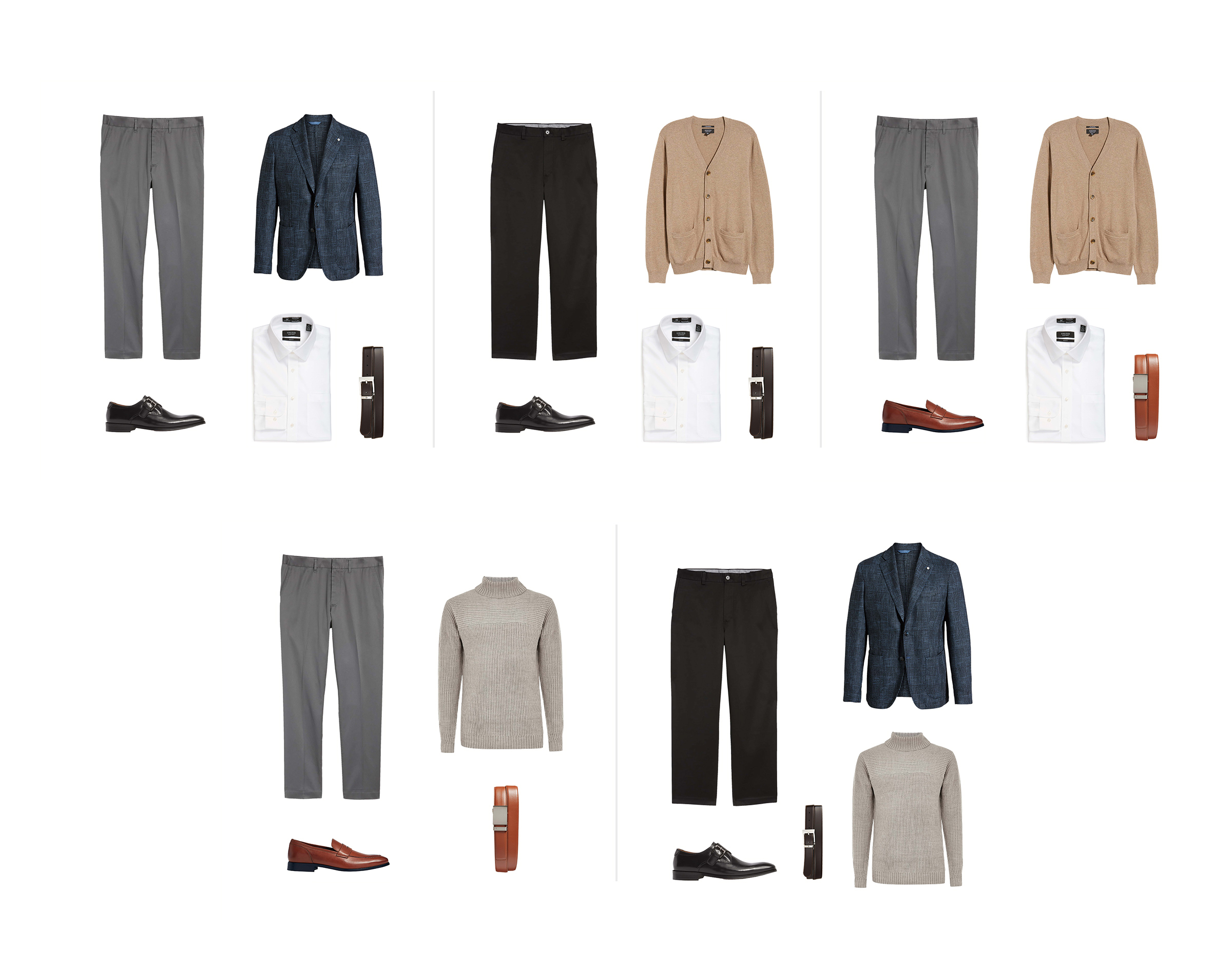 Five wardrobe combinations from the previous image consisting of ten items of professional menswear.