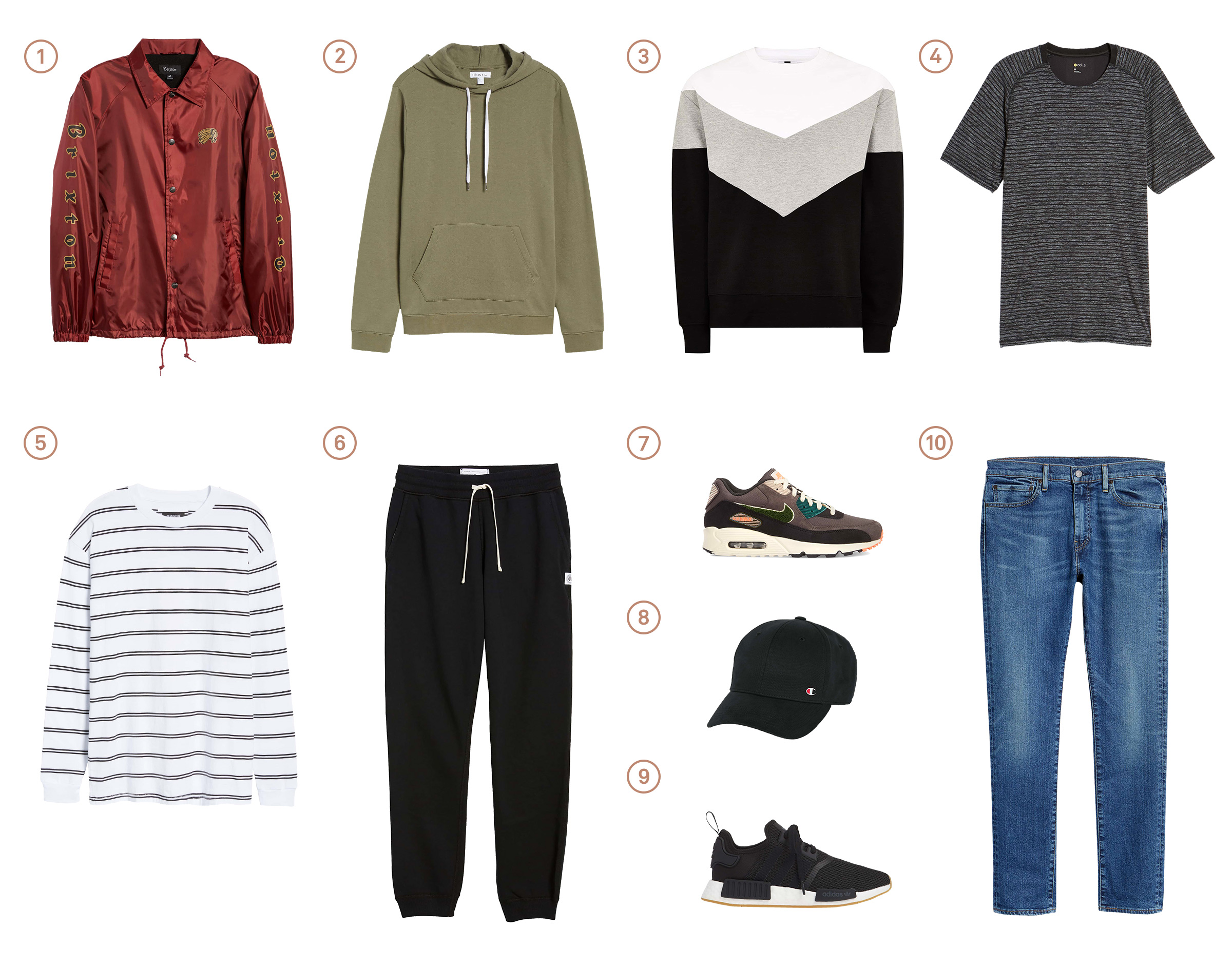 Men's capsule wardrobe with ten items of sport forward menswear.