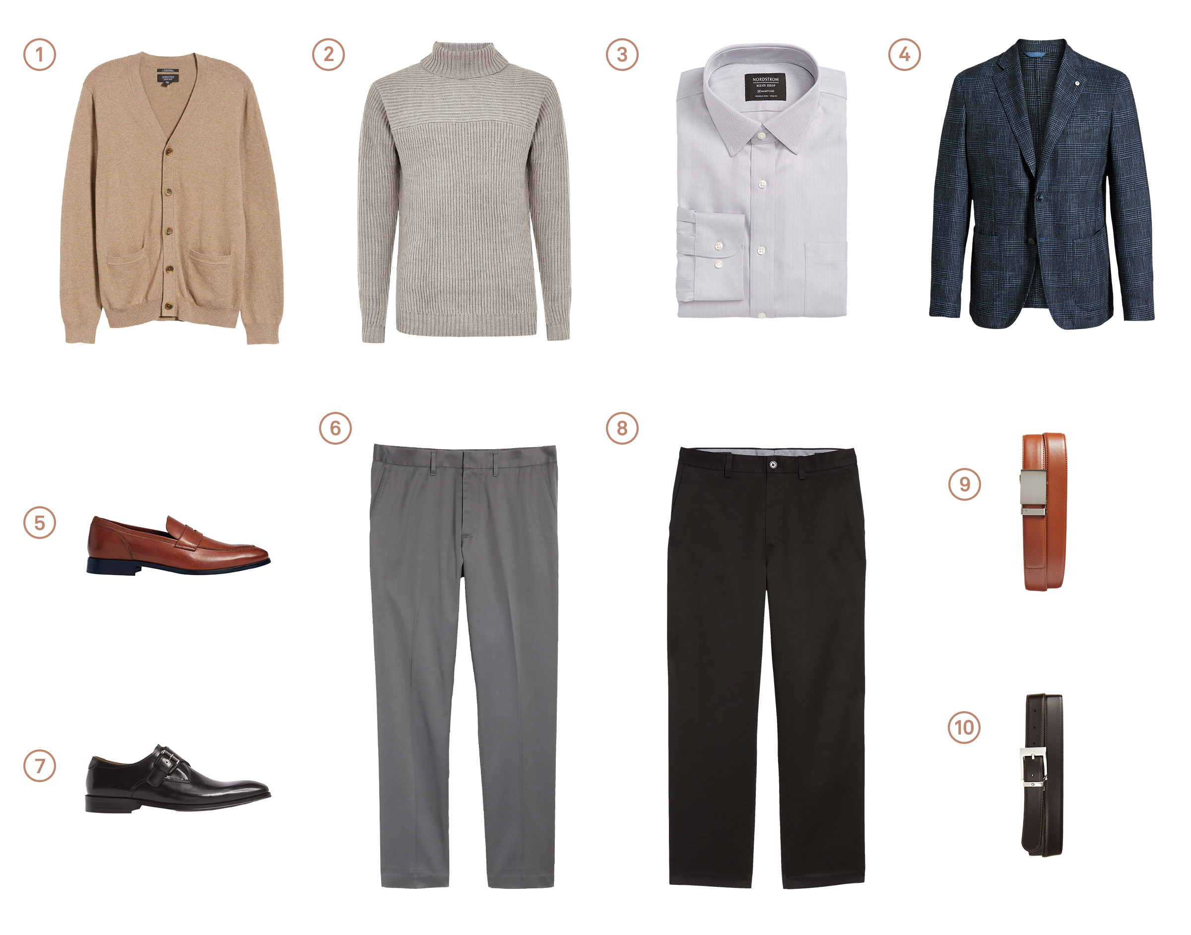 Men's capsule wardrobe with ten items of professional menswear.