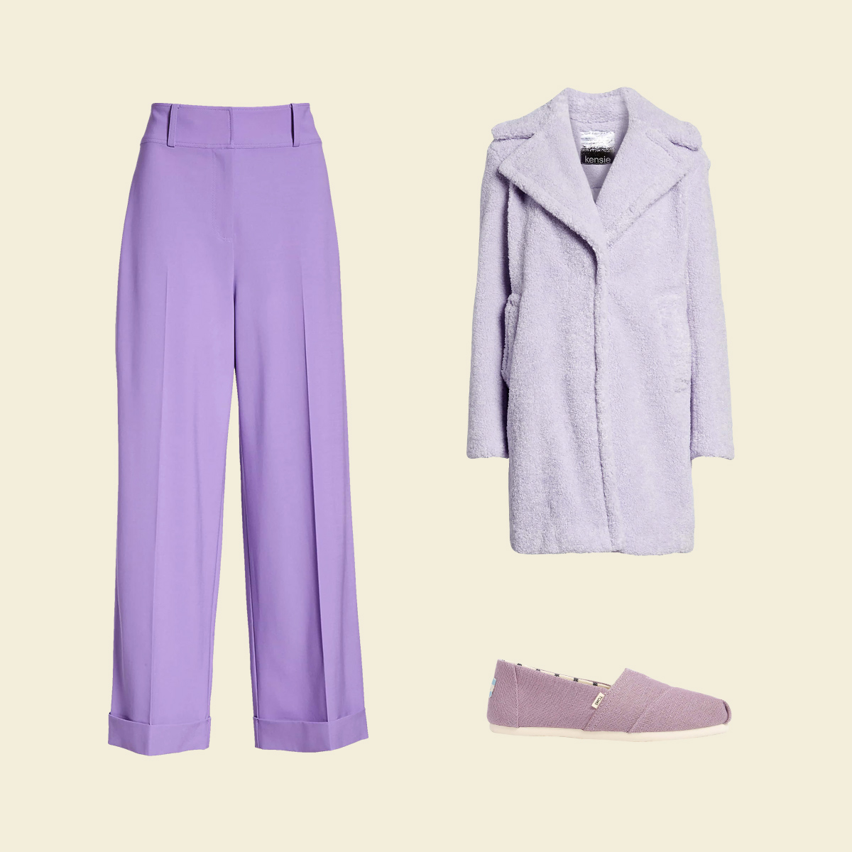 Three pastel women's garments in lavender.