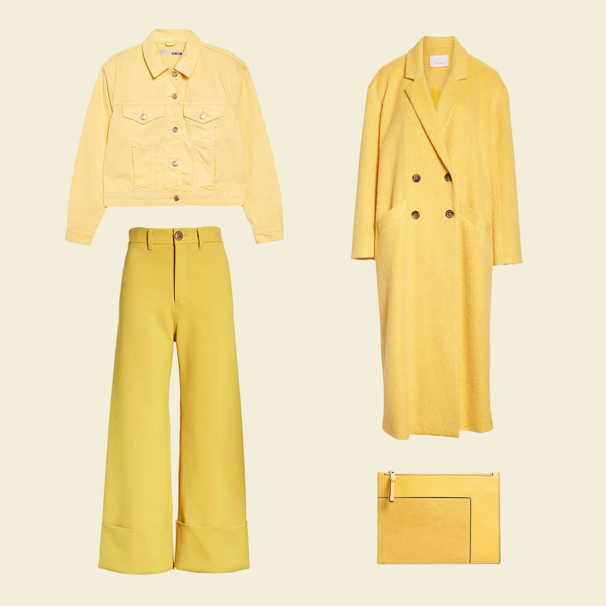 Three pastel women's garments in yellow.