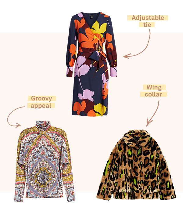Three women's garments featuring giant prints (representing a current trend in November 2018).