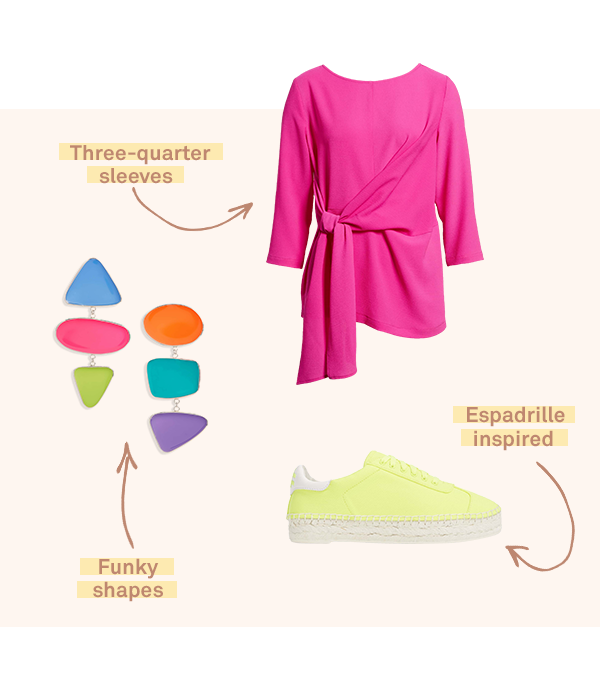 Three women's garments featuring neon hues (representing a current trend in November 2018).