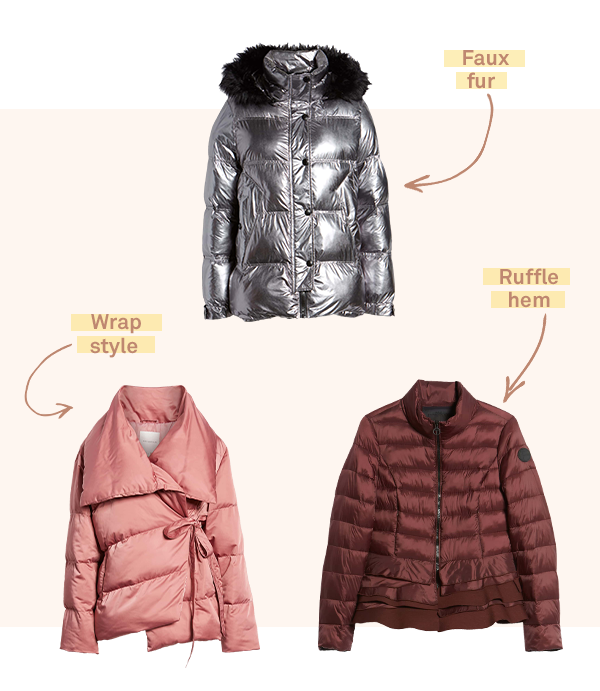 Three women's puffer coats (representing a current trend in November 2018).