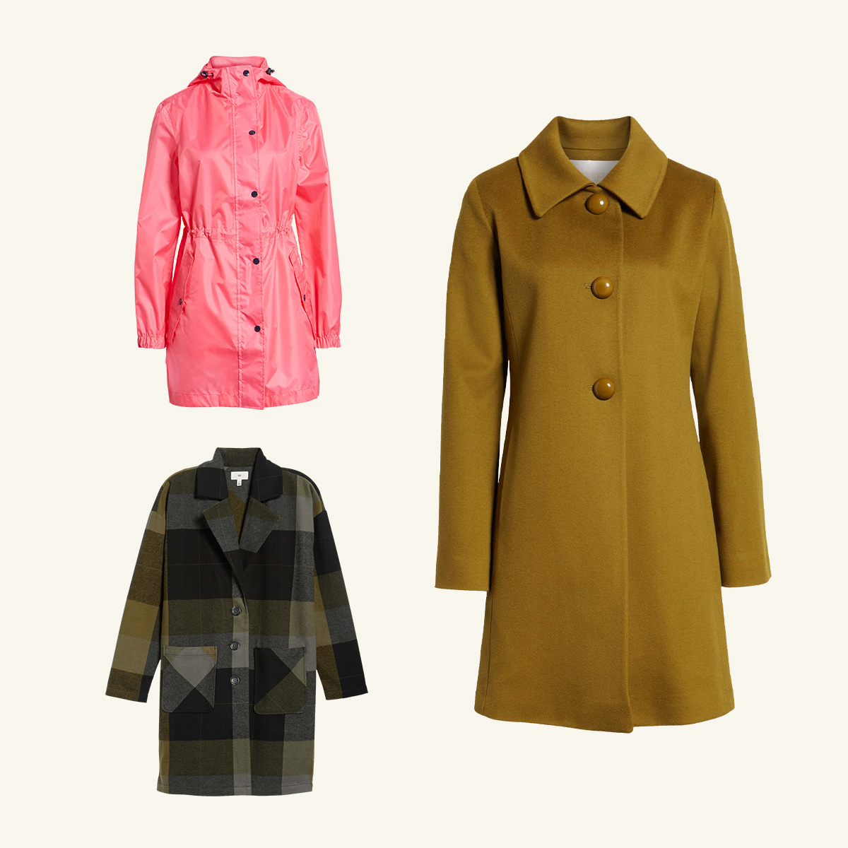 Three women's coats meant to be worn in mild weather.