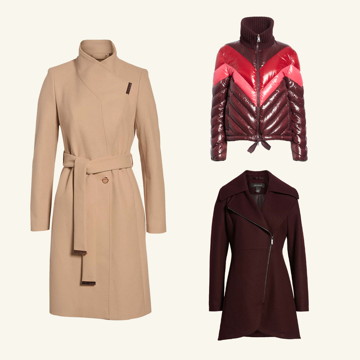 Three women's coats meant to be worn in moderate weather.