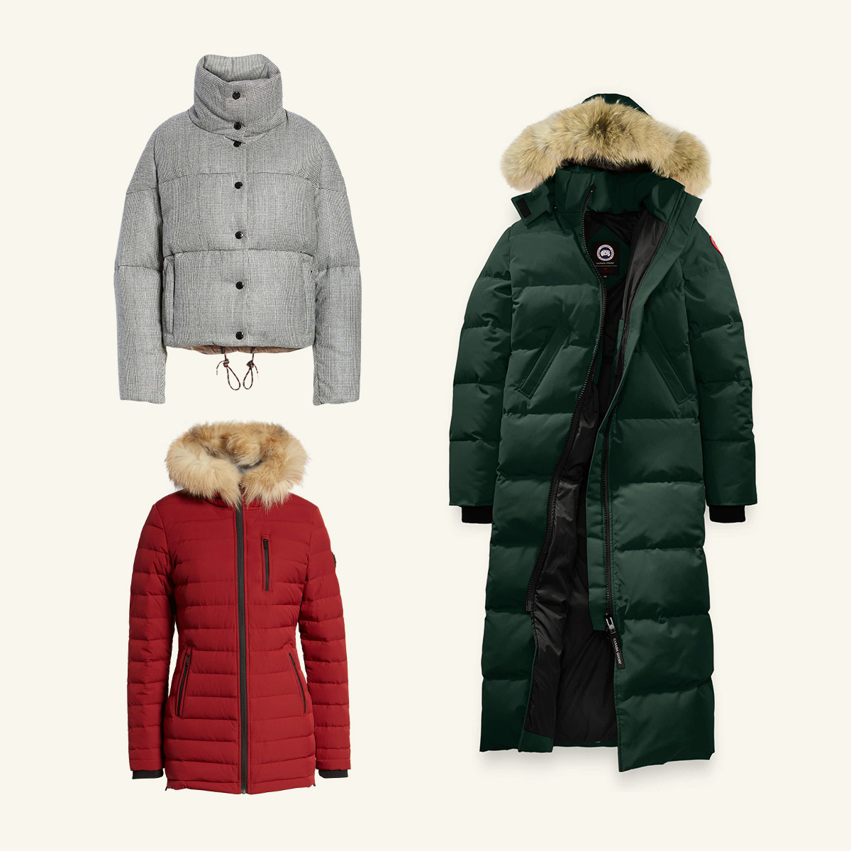 Three women's coats meant to be worn in severe winter weather.