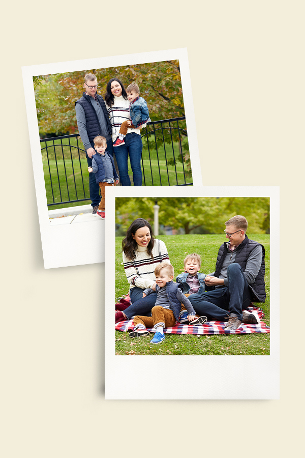 Polaroids from a family photo shoot in a park during the autumn.