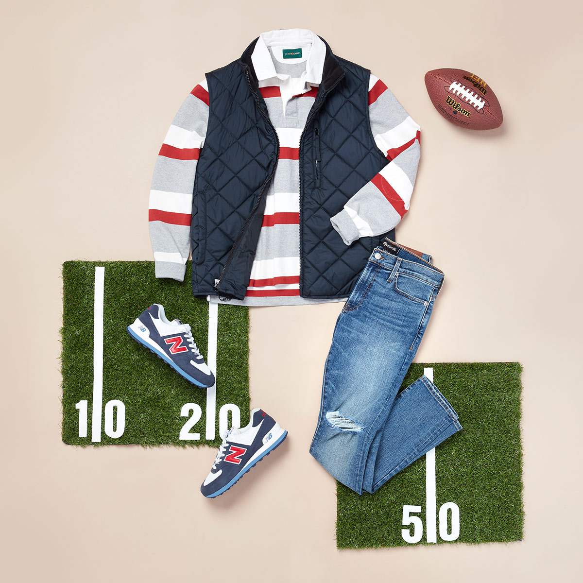 Collection of game day wear for men laid flat.
