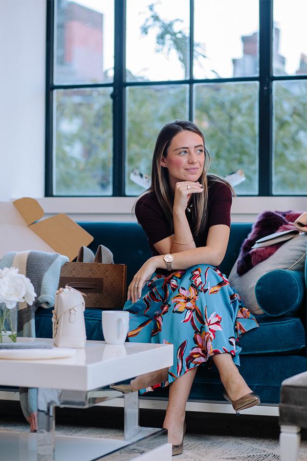 Lifestyle blogger, Kerrie M. Burke, wearing floral, feminine trends.