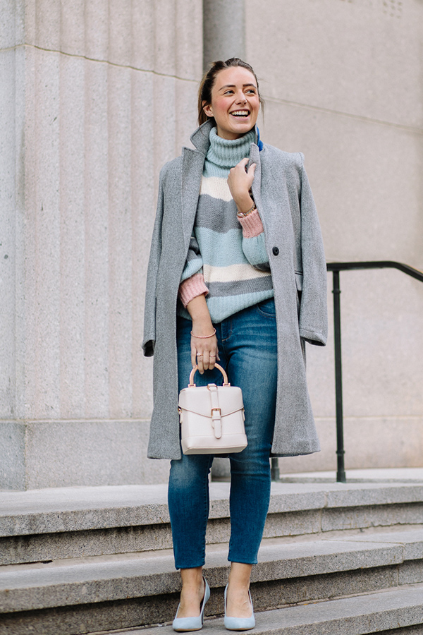 Lifestyle blogger, Kerrie M. Burke, wearing a comfortable, trendy outfit with a collar detail (from the jacket) nested in the upper righthand corner of the photograph.